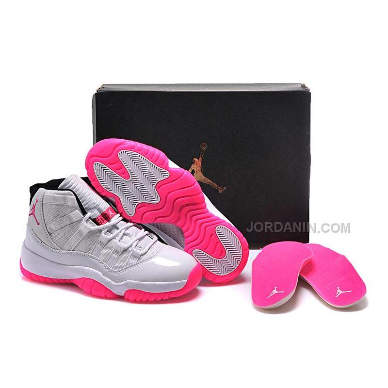 56b9f5c4d8ca03 USD  86.00. 2016 Girls Air Jordan 11 White Pink Shoes For Sale Online Hot  ...