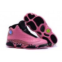 2016 Girls Air Jordan 13 Black Pink Leopard Print Shoes For Sale