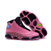 2016 Girls Air Jordan 13 Black Pink Leopard Print Shoes For Sale Hot