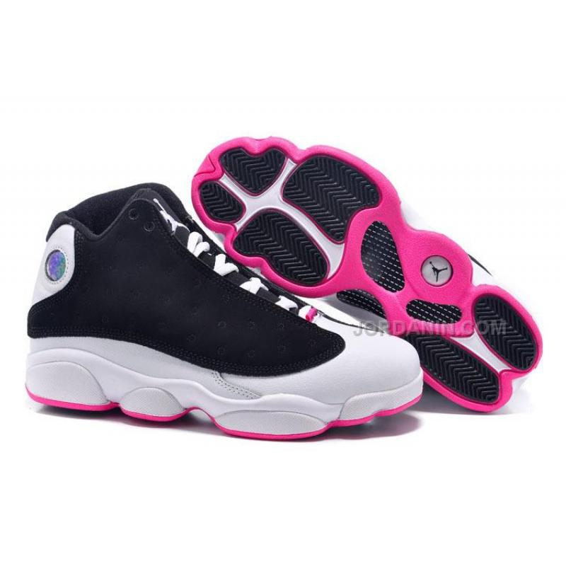 "dc898a0abc3e3b 2016 Girls Air Jordan 13 Retro ""Hyper Pink"" Black Hyper Pink-White ..."