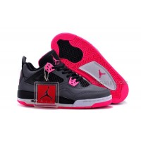 2016 Girls Air Jordan 4 Black Grey Hyper Pink For Sale Hot