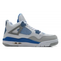 Air Jordans 4 Retro White/Military Blue-Neutral Grey For Sale
