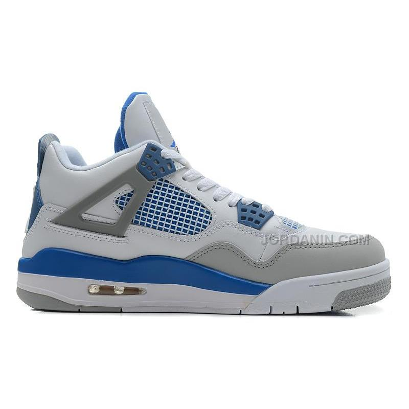 USD  84.00. Air Jordans 4 Retro White Military Blue-Neutral Grey ... 9e3009032