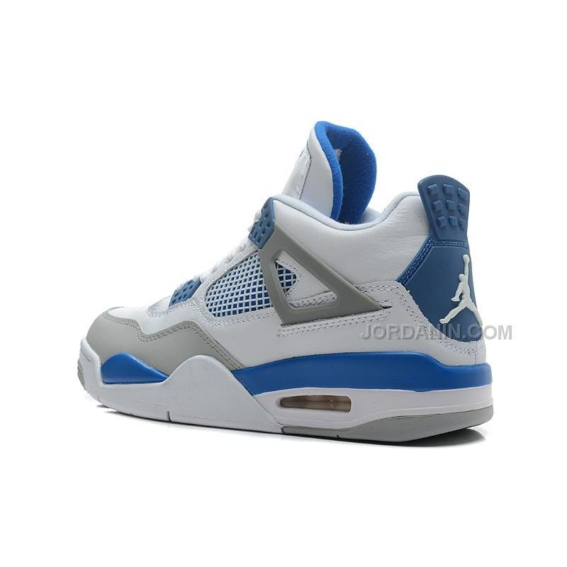 Men Air Jordan Retro V 1 Military Blue White Neutral Grey Shoes