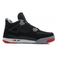 """Air Jordans 4 Retro """"Bred"""" Black/Cement Grey-Fire Red For Sale"""