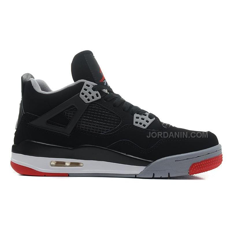 """9f7b29853598 Air Jordans 4 Retro """"Bred"""" Black Cement Grey-Fire Red For Sale ..."""