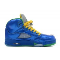 "New Air Jordans 5 Retro ""Easter"" Metallic Blue-Yellow/Pine Green For Sale"