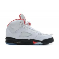 New Air Jordans 5 Retro White/Black-Fire Red For Sale