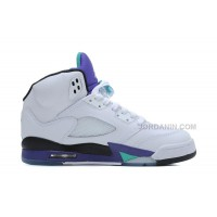 Air Jordans 5 Retro White/New Emerald-Grape-Ice Blue For Sale Free Shipping