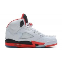 Air Jordans 5 Retro White/Fire Red-Black For Sale Free Shipping