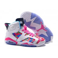 """2016 Girls Air Jordan 6 """"Floral Print"""" Pink White Shoes For Sale"""