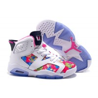 """2016 Girls Air Jordan 6 """"Floral Print"""" White Pink Shoes For Sale New"""