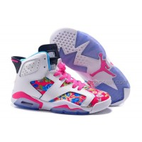 """2016 Girls Air Jordan 6 """"Floral Print"""" Pink White Shoes For Sale New"""