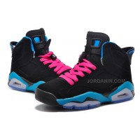 "Girls Air Jordan 6 Retro ""South Beach"" Black/Dynamic Blue-White-Vivid Pink New"