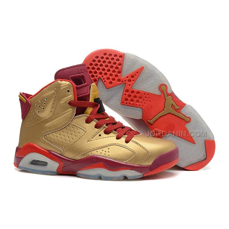 best loved e8023 f4d1a USD  84.00. Air Jordans 6 Retro Metal Gold Deep Red-Varsity Red For Sale ...