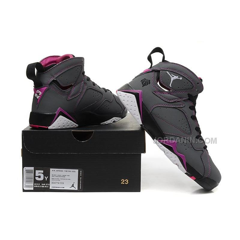 "67304155ec9f ... Girls Air Jordan 7 ""Valentines Day"" Dark Grey White-Black-Fuchsia ..."