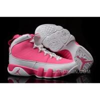 Girls Air Jordan 9 Pink White Shoes For Sale