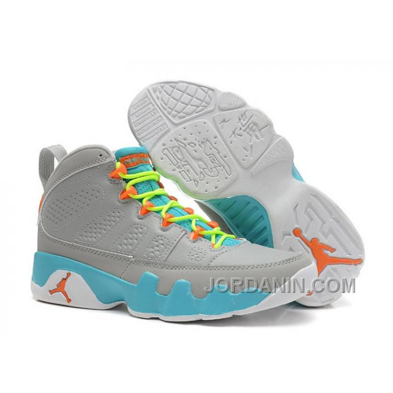 check out 4dc2f 2ca8b Girls Air Jordan 9 Retro Wolf Grey/Neon Orange-Mint Candy For Sale