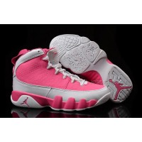 New Girls Air Jordan 9 Pink White Shoes For Sale
