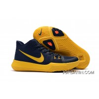 "Girls Nike Kyrie 3 ""Cavs"" Deep Blue Yellow Big Discount"