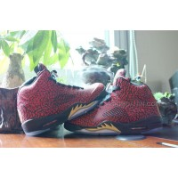 Air Jordan 5s Women Shoes Red Black Gold Cheap