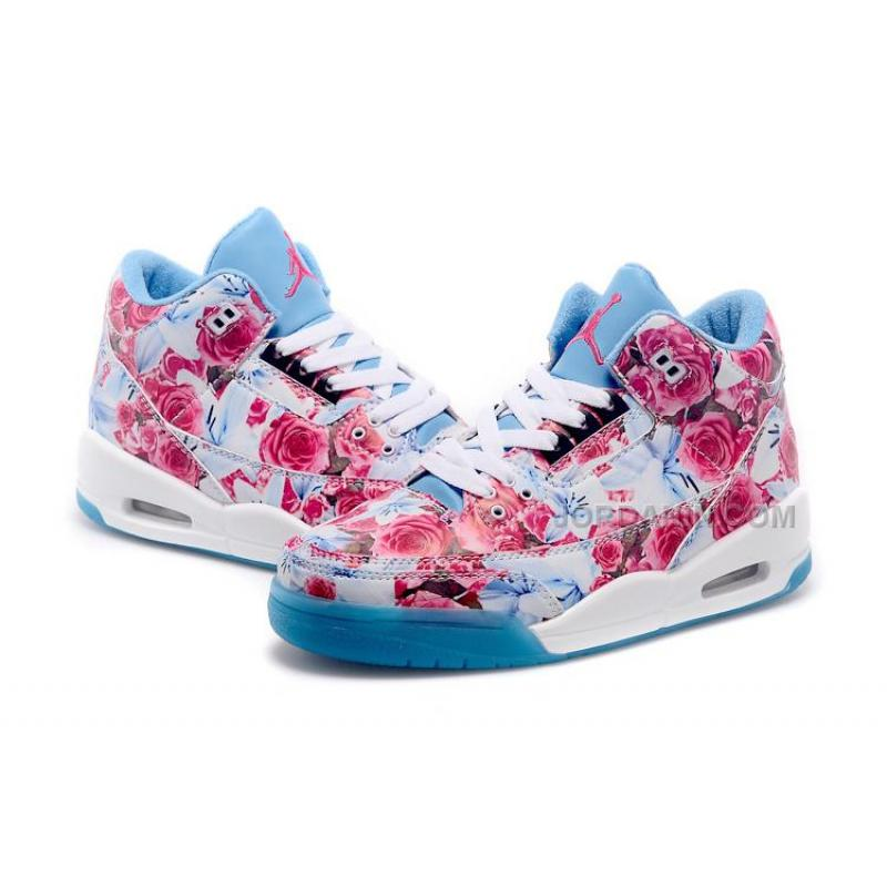 newest ed6f3 3b9a6 New Arrival Air Jordan 3s School Girls Shoes Women Blue NEW