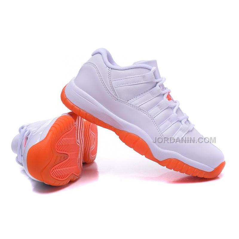 208f05b167d7cc USD  82.00. New Arrival Air Jordan 11s Low Women Shoes Online NEW White  Orange ...