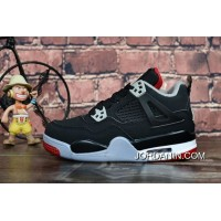 """1c6652ffd504 New Style Kid s Air Jordan 4 """"Bred"""" Black Cement Grey-Fire Red"""