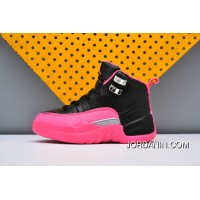 AJ12 AIR Jordan 12 Kids Black Pink Best