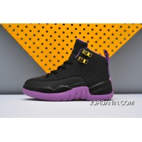 Kids Nike Air Jordan 12 Black Purple Cheap To Buy