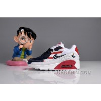 073 MAX 90 Nike Kids Air Max 90 American Flag White Blue Red New Style