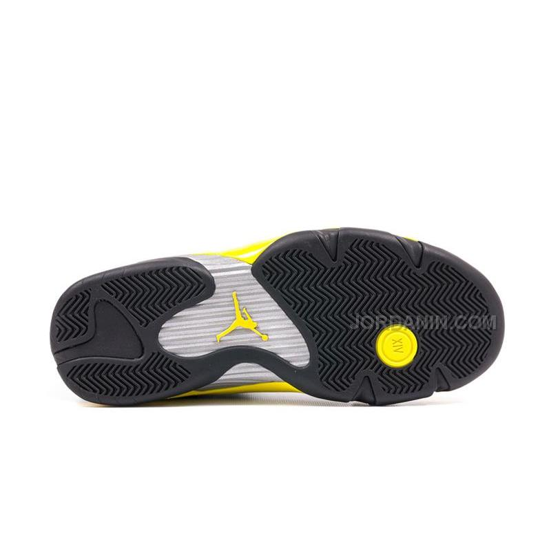 "f541a8427e1a ... Air Jordans 14 Retro ""Thunder"" Black Vibrant Yellow-White For Sale Free  ..."