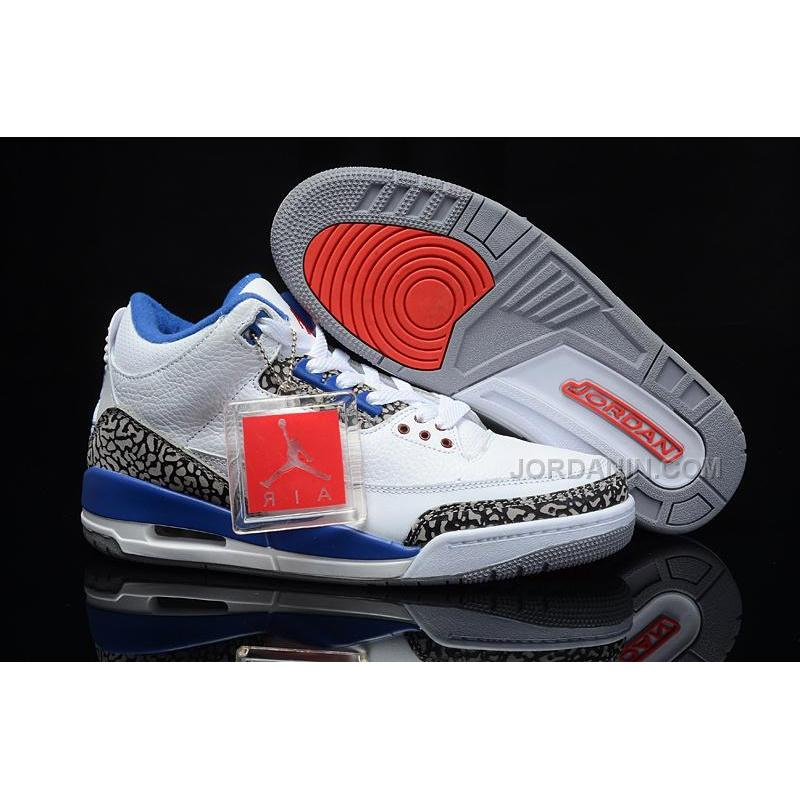 Next To Real Retro S Fake Retro S: Air Jordans 3 Retro White/True Blue For Sale, Price: $84