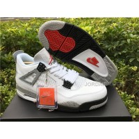 Men Basketball Shoe Air Jordan 4 White Cement AAAA 301