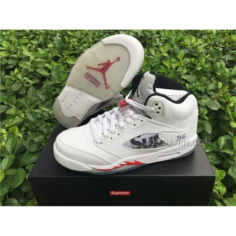 reputable site 361e7 0a277 Men Basketball Shoes Supreme X Air Jordan V White AAAA 286 New Arrival