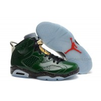 "Air Jordans 6 Retro ""Champagne Bottle"" Pro Green/Metallic Gold-Chilling Red-Black Free Shipping"