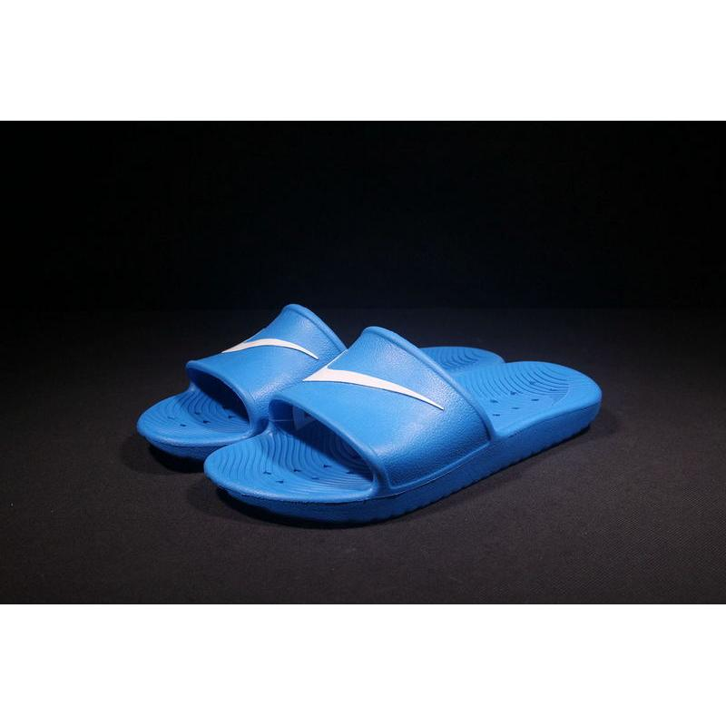 1383067dc 2018 Nike From Laser Marking Authentic Slides TAB Benassi Slides TAB Swoosh  All Blue Shoes Discount ...