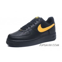 Nike Air Force 1 07 LV8 LOW One FULL GRAIN LEATHER AA4083-002 Black Yellow Hook Size 10 Material FULL GRAIN LEATHER Material 4 Discount