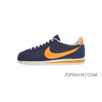 The Latest Perfect Here Model Improved Version Women Shoes And Men Shoes Nike Classic Cortez Classic Retro Cortez All-match Jogging Shoes Oxford Navy Blue Orange Yellow 488291-410 New Release