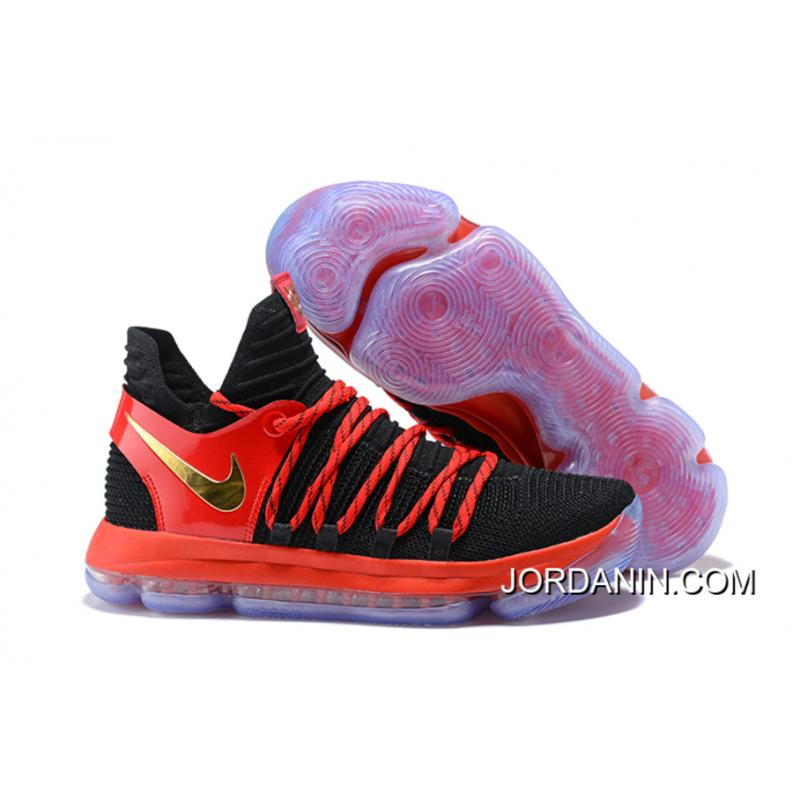 Best Nike KD 10 Black/University Red-Metallic Gold