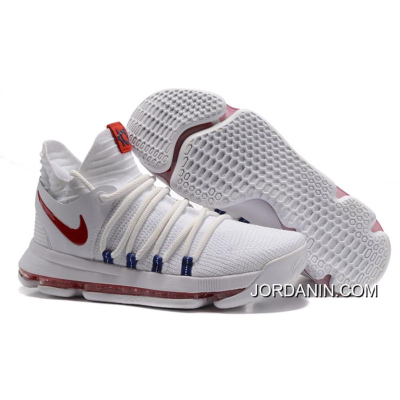 best service 5a4ea e5614 USD  98.93  277.00. Nike KD 10 White Red Men Shoes Kevin Durant ...