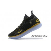 Nike KD 11 Black Gold Kevin Durant Basketball Shoes Free Shipping