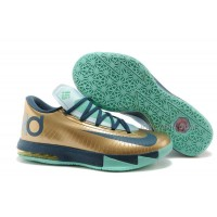 """Nike Kevin Durant KD 6 VI """"54 Points"""" Gold/Navy-Teal For Sale Free Shipping"""