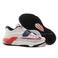 """Nike Kevin Durant KD 7 VII """"USA"""" White/Obsidian-University Red For Sale New"""