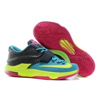 "Nike Kevin Durant KD 7 VII ""Carnival"" Hyper Jade/Volt-Hyper Pink-Dark Base Grey For Sale New"