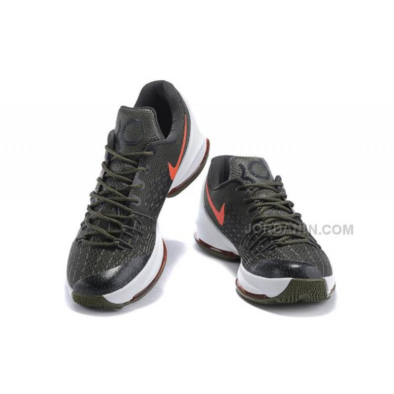 c76ae5293fc ... Shop KD 8 Basketball Shoes Army Green White-Orange Online ...