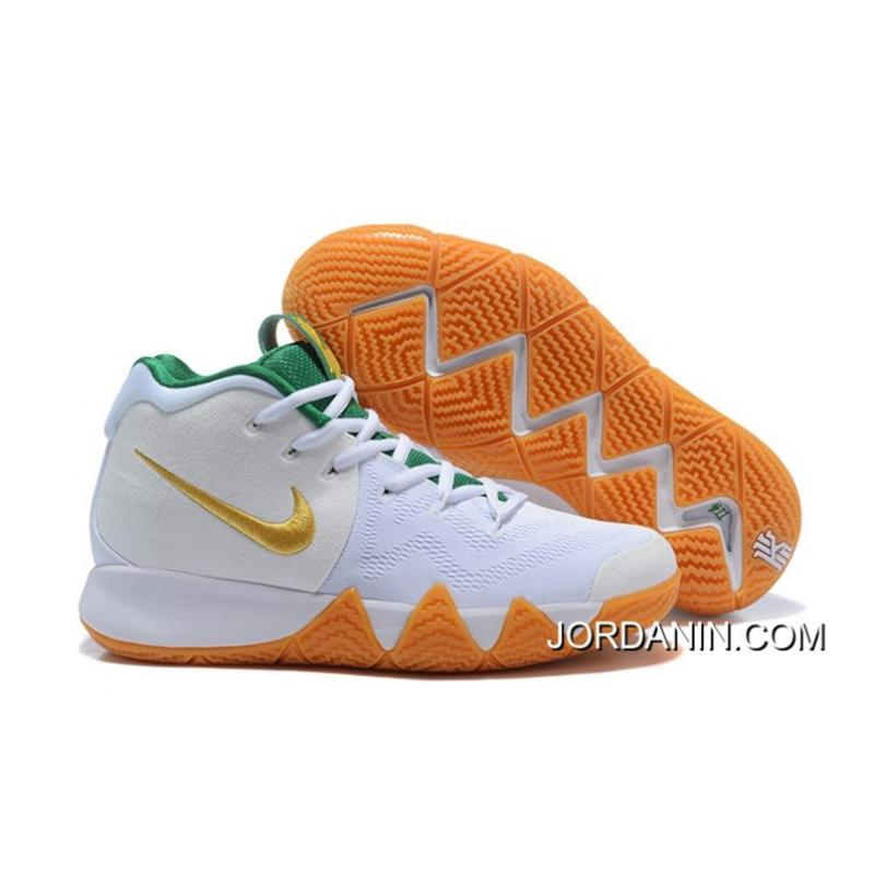reputable site 186a1 a44f6 Nike Kyrie 4 White/Metallic Gold-Green Discount