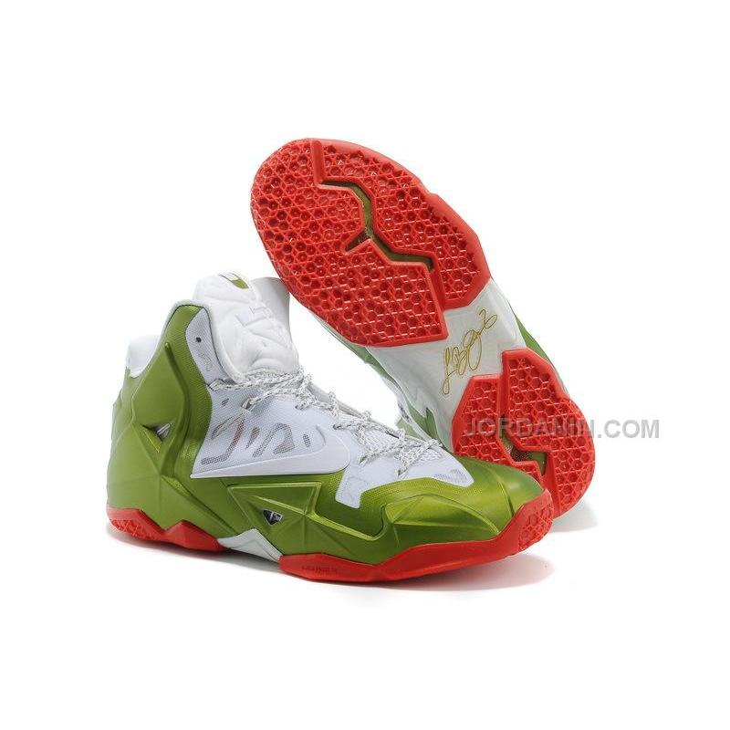 Nike LeBron 11 Christmas White-Green-Red For Sale
