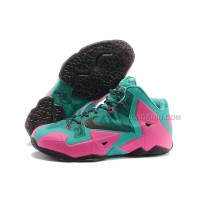 Nike LeBron James 11 Pink/New Green-Black For Sale Free Shipping