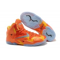 "Nike LeBron 11 ""Forging Iron"" Urban Orange/Light Armory Blue-Laser Orange Free Shipping"
